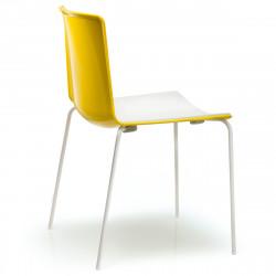 Chaise Tweet 890, Pedrali jaune, blanc Pieds vernis