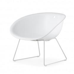 Gliss 340 fauteuil lounge, Pedrali blanc, pieds blancs