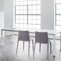 More, table à rallonges, Pedrali blanc 110x75cm