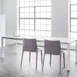 More, table à rallonges, Pedrali blanc 180x85cm