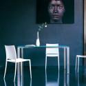 Logico, table rectangulaire, Pedrali, plateau en verre dépoli 140x80cm