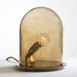 Lampe à poser Glow in a Dome, Ebb & Flow marron base laiton, Diamètre 20 cm