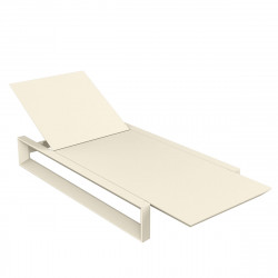Chaise longue Frame écru mat, avec coussin tissu Silvertex, Vondom