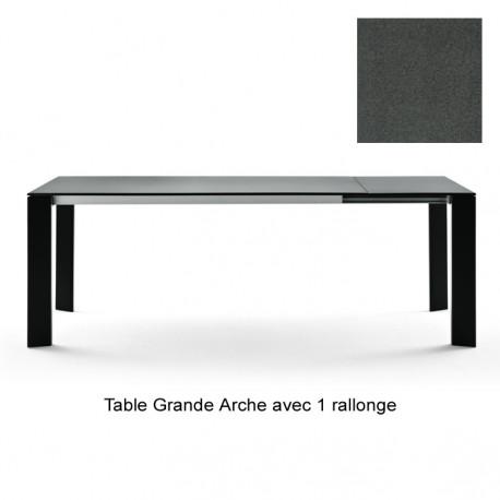 Table Grande Arche avec 1 rallonge, Fast gris métal Longueur 220/270 cm