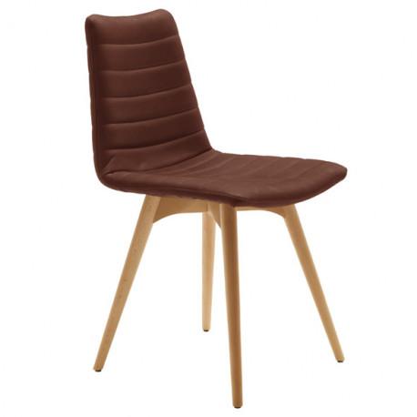 Chaise design Cover, Midj marron pieds bois