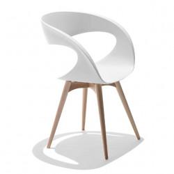 Chaise design Raff pieds bois, Midj blanc