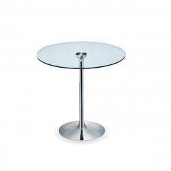 Table ronde Infinity, Midj plateau verre, pied chromé Diamètre 100 cm