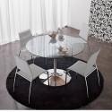 Table ronde Infinity, Midj plateau verre, pied chromé Diamètre 120 cm