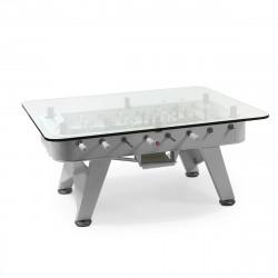 Table à manger baby foot rectangulaire, RS Barcelona argent Hauteur 76 cm