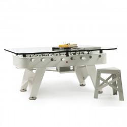Table à manger baby foot rectangulaire, RS Barcelona blanc Hauteur 100 cm