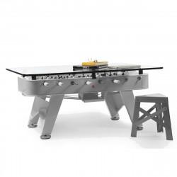 Table à manger baby foot rectangulaire, RS Barcelona inox Hauteur 100 cm