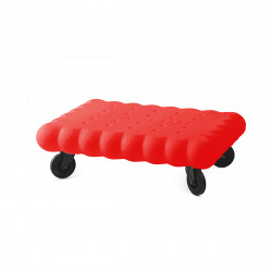Table basse biscuit Tea Time, Slide Design rouge Laqué
