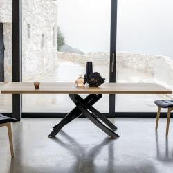 Table Sculptura en bois chene naturel 160/200/240x90 cm