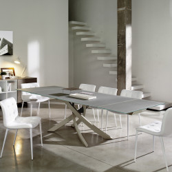 Table Sculptura en verre Gris tourterelle opaque 200x106 cm