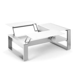 Kama Table modulable duo Aluminium Givré, Ego Paris Blanc givré-Argent