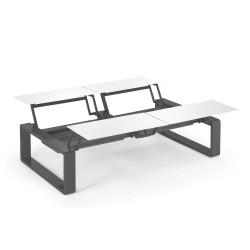 Kama Table modulable Quattro Aluminium Givré, Ego Paris Blanc givré-Acier