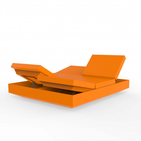 Lit de jardin double design Vela Daybed avec 4 dossiers inclinables, Vondom Orange Nautic