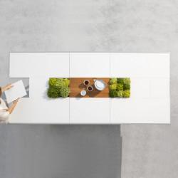 Table Extensible Extrados Medium Céramique blanc avec Teck et Aluminium 182/242x110 cm