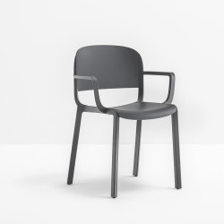 Chaise bistrot design, Dome 265 avec accoudoirs, Pedrali, Gris Anthracite