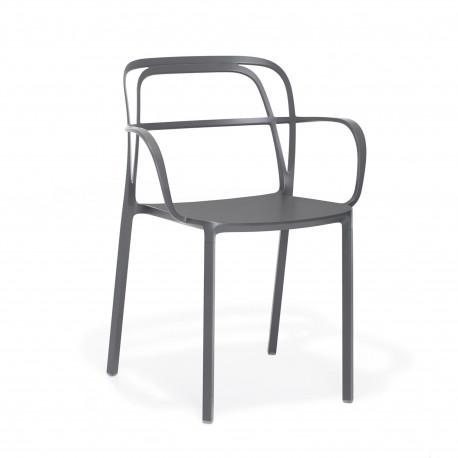 Lots de 2 Chaises aluminium avec accoudoirs Intrigo 3715, Pedrali, gris anthracite