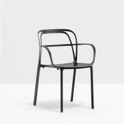 Lots de 2 Chaises aluminium avec accoudoirs Intrigo 3715, Pedrali, noir