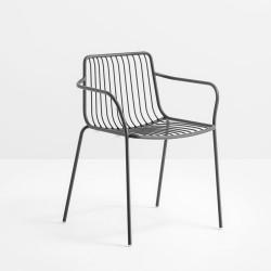 Lot de 2 chaises filaires avec accoudoirs, Nolita 3655, Pedrali, gris anthracite