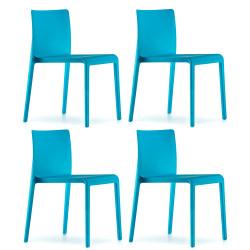 Lot de 4 Chaises Volt 670, Pedrali, Bleu
