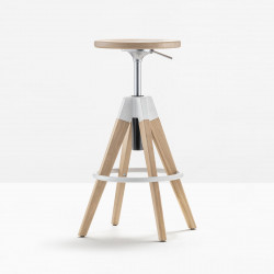 Tabouret de bar Arki stool ARKW6 , Pedrali, hauteur réglable 65 à 75 cm, chêne blanchi et blanc