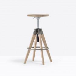 Tabouret de bar Arki stool ARKW6 , Pedrali, hauteur réglable 65 à 75 cm, chêne blanchi et métal vernis