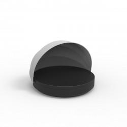 Lit de soleil nid Vela Daybed design, avec parasol, coussin Silvertex noir, Vondom