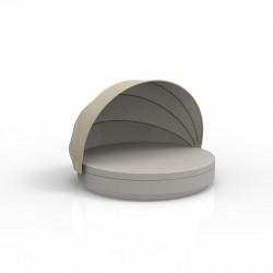 Lit de soleil nid Vela Daybed design, avec parasol, coussin Silvertex taupe, Vondom