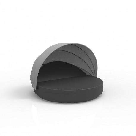 Lit de soleil rond design Vela Daybed, avec parasol, dossier inclinable, coussin Silvertex gris anthracite, Vondom