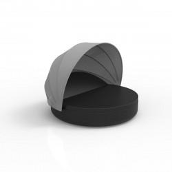Lit de piscine design Ulm Daybed avec parasol, Vondom, coussin Silvertex noir, 180x40cm