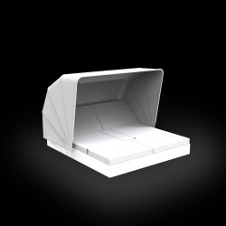 Chaise longue double Vela Daybed design, avec parasol, 4 dossiers inclinables, Vondom Lumineux Led Blanc