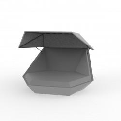 Daybed chaise longue design avec Parasol Faz, Vondom gris argent