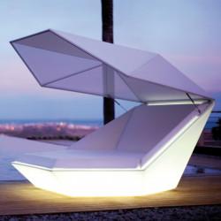 Daybed chaise longue design avec Parasol Faz, Vondom Lumineux Led Blanc