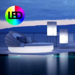 Lit de soleil rond design Vela Daybed, avec parasol, dossier inclinable, Vondom Lumineux Led RGBW multicolore