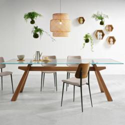 Table Zeus LG, Midj plateau verre , pieds bois 250cm x106 cm