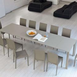 Table Ghedi avec rallonge, Midj plateau mélaminé Sable, pieds acier 160/210/260/310 x 90 cm