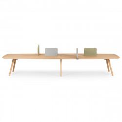 Bureau Bench Wing 4 places, True Design Chêne