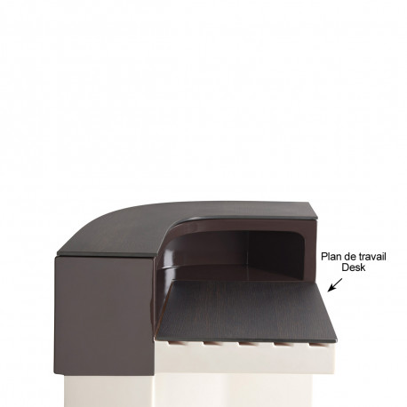 Plan de travail Cordiale Corner Desk, HPL effet bois wengé, pour module d'angle de bar Cordiale, Slide Design