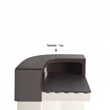 Tablette Cordiale Corner Top, HPL effet bois wengé, pour module d'angle de bar Cordiale, Slide Design