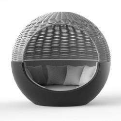 Ulm Moon Daybed, lit de soleil cocoon, Vondom, structure anthracite, coussins gris Steel 1042, capote grise, 218x199xH205cm