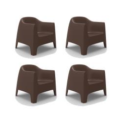 Set de 4 Fauteuils Lounge Solid, Vondom bronze
