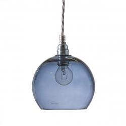 Suspension Rowan Bleu Abysse, diamètre 15,5 cm, Ebb & Flow, douille et câble argents