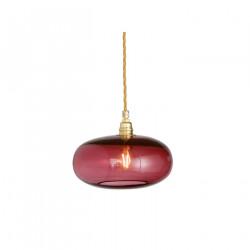 Petite suspension verre soufflé Horizon Rouge Rubis, diamètre 21 cm, Ebb & Flow, douille et câble dorés