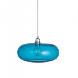 Luminaire suspension verre soufflé Horizon Bleu Piscine, diamètre 36 cm, Ebb & Flow, douille et câble argentés