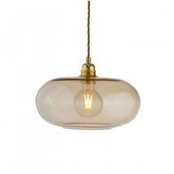 Suspension verre soufflé design Horizon Doré fumé, diamètre 29 cm, Ebb & Flow, douille et câble dorés