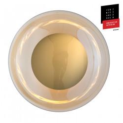 Plafonnier verre soufflé Horizon Doré fumé, diamètre 36 cm, Ebb & Flow, centre métal doré