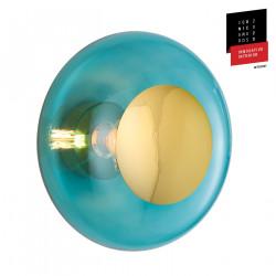 Plafonnier verre soufflé Horizon Bleu Océan déchainé, diamètre 36 cm, Ebb & Flow, centre métal doré